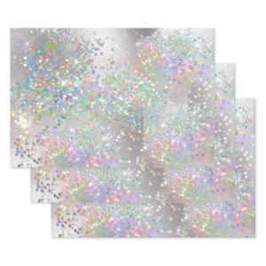 Silver sparkle holographic rainbow glitter shine wrapping paper sheets