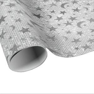 Silver Stars Moon Celestial Sky Sequin Gray VIP Wrapping Paper