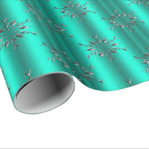 Silver Stars on Teal Christmas Wrapping Paper