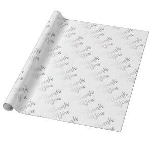 Silver Thank You Script Wrapping Paper