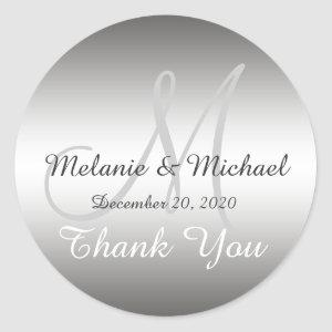 Silver Thank You Wedding Monogram Sticker