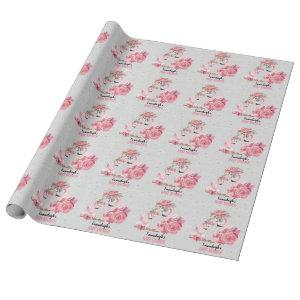 Silver Watercolor Flamingo Ballerina Baby Shower Wrapping Paper