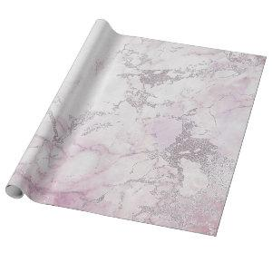Silver White Pink Gray Marble Shiny Brushes Wrapping Paper