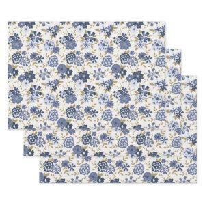 Simple Blue Vine Flowers Trendy Floral Botanical Wrapping Paper Sheets