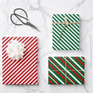 Simple Chic White Stripes Pattern On Red And Green  Sheets