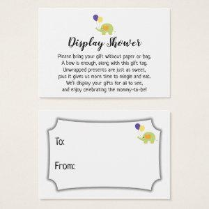 Simple Display Baby Shower Gift Card with Elephant