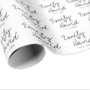 Simple Elegant Bride And Groom Names Wedding Wrapping Paper