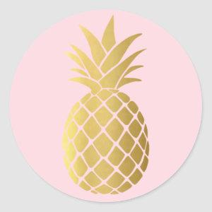 Simple Gold Pineapple Pink Round Stickers