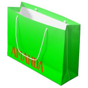 Simple & Modern Lime Green & Orange - Personalized Large Gift Bag