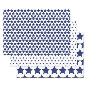 Simple Patriotic Blue/White Star Half-Brick Wrapping Paper Sheets