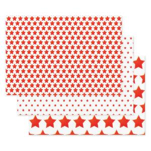 Simple Patriotic Red/White Star Half-Brick  Wrapping Paper Sheets