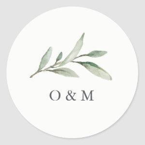 Simple Watercolor Greenery monogram Classic Round Sticker