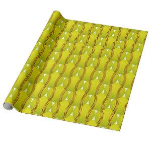 Simple Yellow Softball Hex Pattern Wrapping Paper