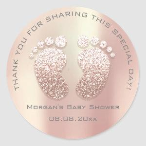Skinny Glitter Feet Baby Shower Favor Thank You Classic Round Sticker