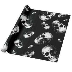 Skull Gothic Halloween Wedding Wrapping Paper