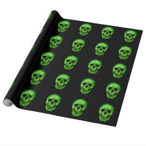 Skull Green Black Wrapping Paper