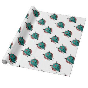 Skull in cartoon style. wrapping paper