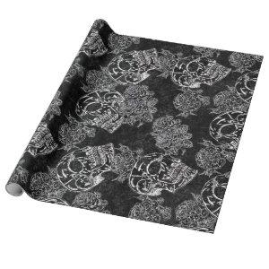 Skull Rose Chalk | Funky Black Gothic White Grunge Wrapping Paper
