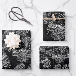 Skull Rose Chalk | Funky Black Gothic White Grunge Wrapping Paper Sheets