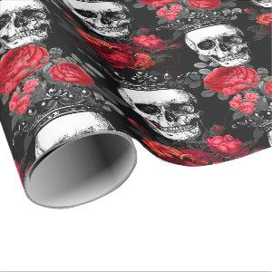 Skulls crowns and faded red roses on a dark black wrapping paper
