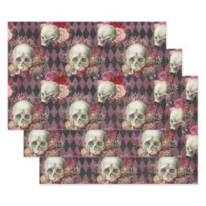 Skulls with Roses and Pink Purple Checkered  Sheets