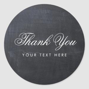 Sleek Simple Elegant Modern Chalkboard Thank You Classic Round Sticker
