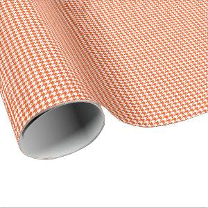 Small Bright Orange and White Houndstooth Wrapping Paper