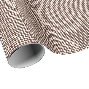 Small Brown and White Houndstooth Wrapping Paper