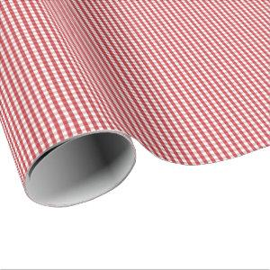Small Dark Red and White Gingham Wrapping Paper