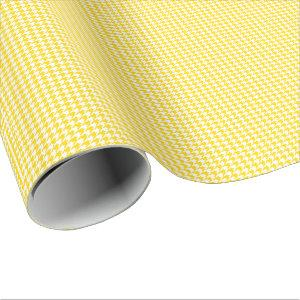 Small Golden Yellow and White Houndstooth Wrapping Paper
