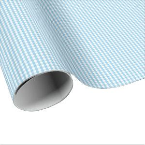 Small Light Blue and White Gingham Wrapping Paper