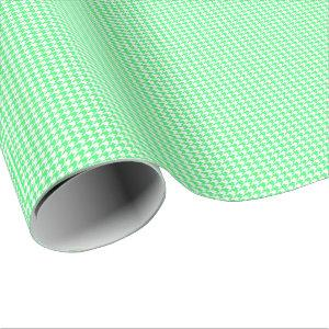 Small Light Green and White Houndstooth Wrapping Paper