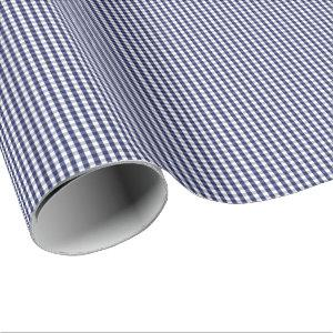 Small Navy Blue and White Gingham Wrapping Paper