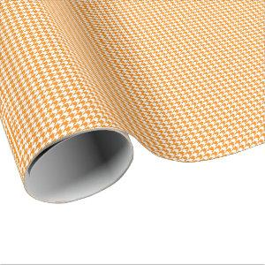 Small Orange and White Houndstooth Wrapping Paper