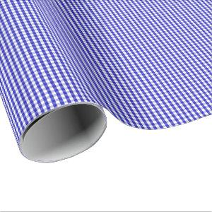 Small Royal Blue and White Gingham Wrapping Paper