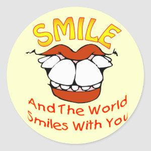Smile and the World Smiles with You Classic Round Sticker