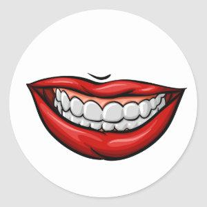 Smiling mouth with white teeth classic round sticker