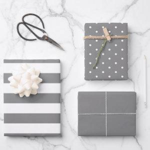 Smoky Gray Polka Dot Wide Striped and Solid Wrapping Paper Sheets