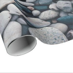 Smooth beach pebble wrapping paper