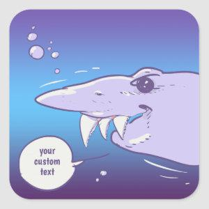 sneaky shark pointed tooth cartoon square sticker