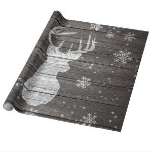 Snow painted deer antlers striped brown wood wrapping paper