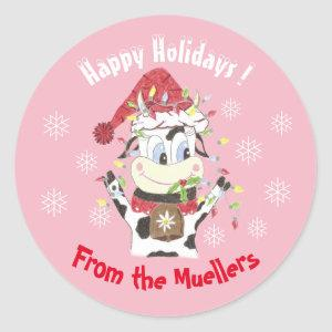 Snowbell the cow -Happy Holidays pink stickers