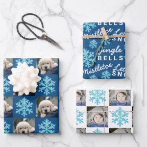 Snowflake Blue Opal Christmas 2 Photo Typography Wrapping Paper Sheets