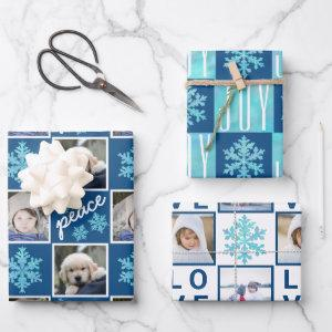 Snowflake Blue Opal Peace Joy Love 4 Photo Wrapping Paper Sheets