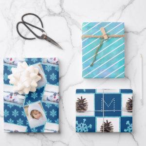 Snowflake Blue Opal Pinstripes 3 Photo Christmas Wrapping Paper Sheets
