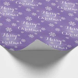 Snowflake Merry Christmas Wrapping Paper In Purple