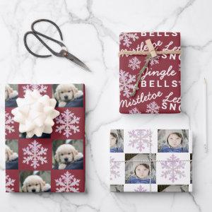Snowflake Pink Opal Christmas 2 Photo Typography Wrapping Paper Sheets