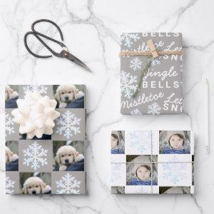 Snowflake White Opal Christmas 2 Photo Typography Wrapping Paper Sheets