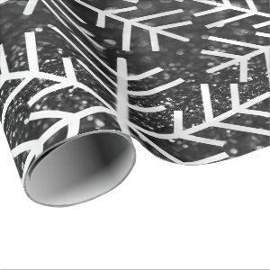 Snowflakes Christmas Holiday Black White Glitter Wrapping Paper