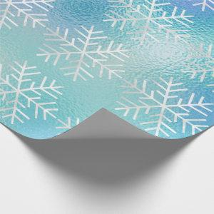 Snowflakes Christmas Holiday Blue Frozen Merry Wrapping Paper